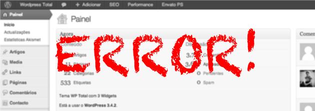 Erro WordPress