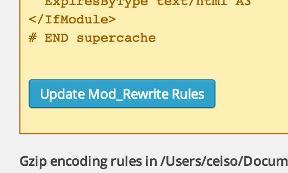 WP Super Cache Rules Update