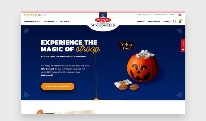Daelman's website with a script font that resembles caramel