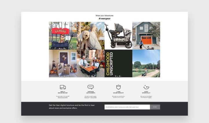 Veer Instagram feed on their homepage