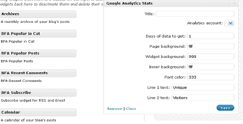 Google Analyticator - Widget