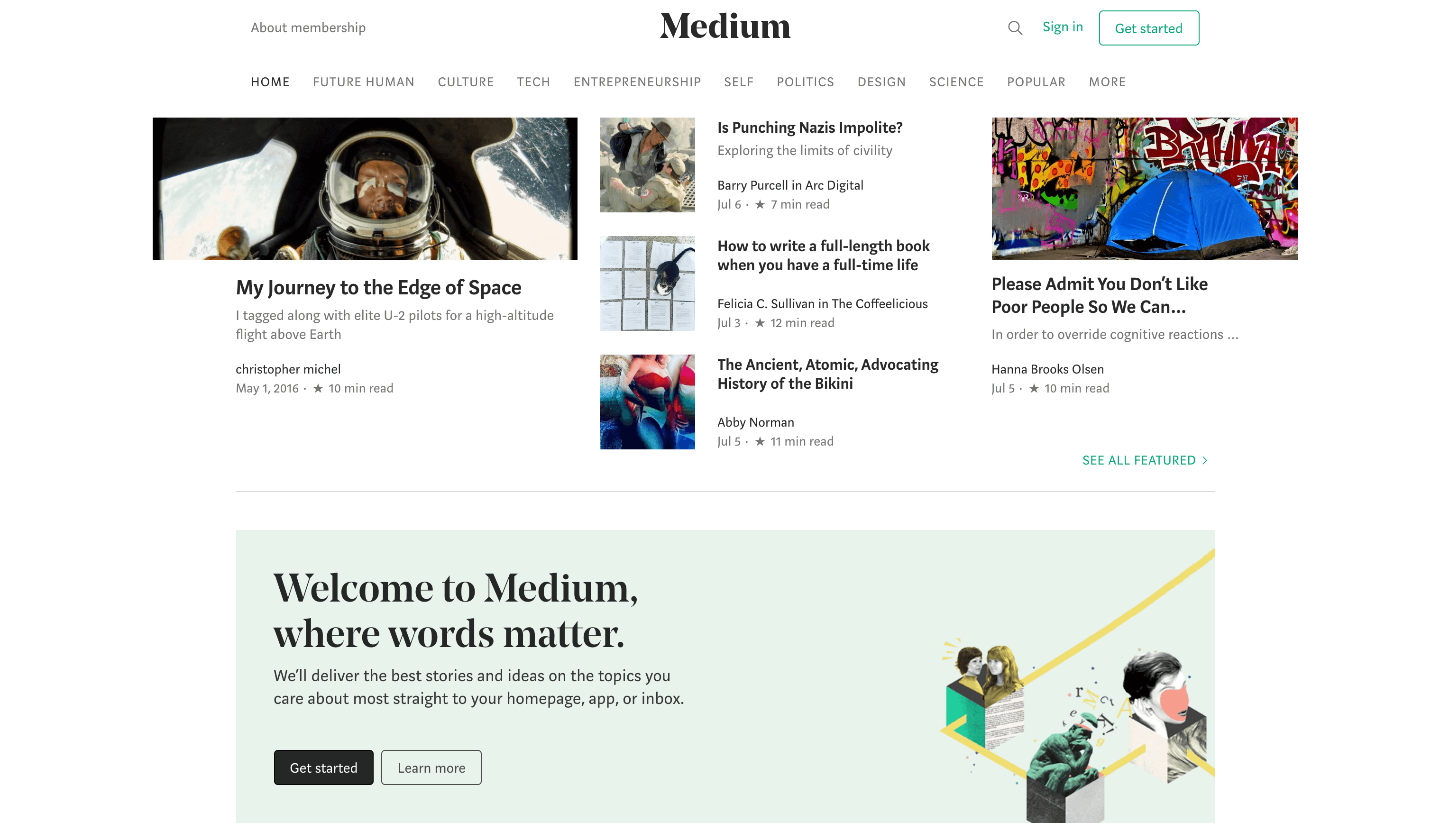 The Medium home page.