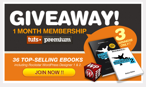 Tweet and Win 1 Month Tuts+ Premium Membership Giveaway by WPWebHost