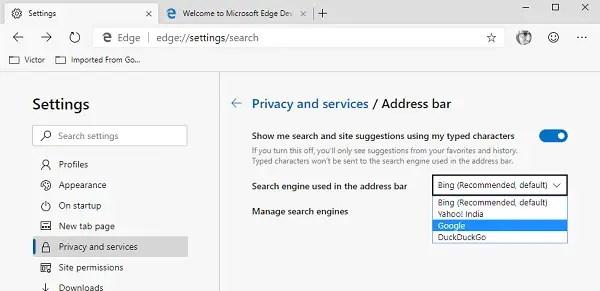 Change Edge Search Engine
