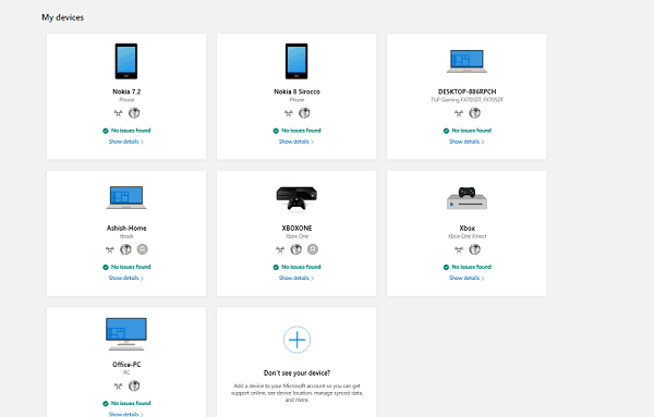 Devices attached to Microsoft Account