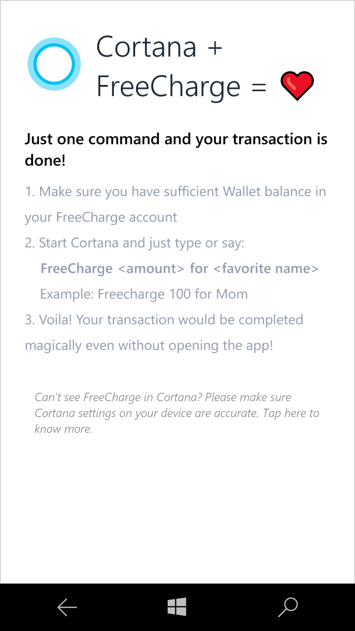 FreeCharge App Updated for Windows 10 Mobile with Cortana