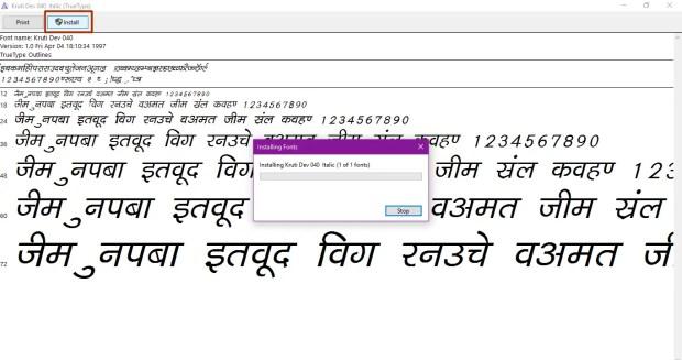 Install uninstall Fonts Windows