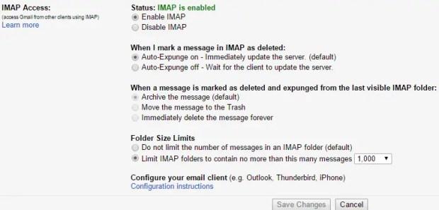 IMAP Access in Gmail
