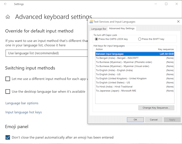 Switch language in keyboard in Windows 10
