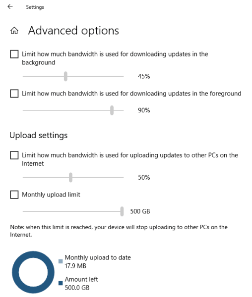 Limit Network Delivery in Windows 10