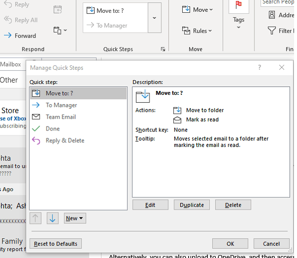 Manage Quick Setup Outlook