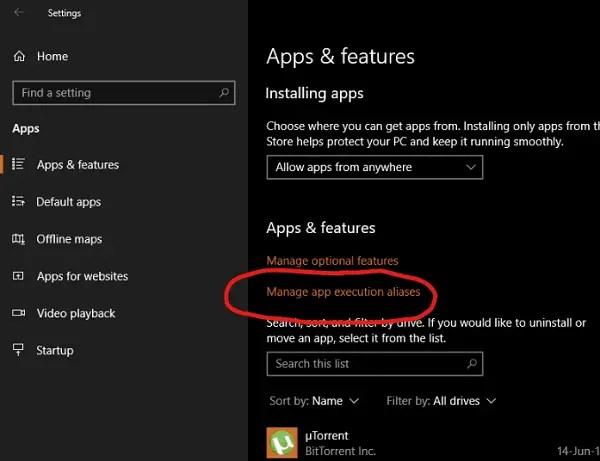 set App Execution Aliases on Windows 10