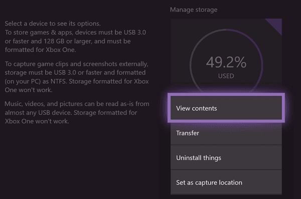 Manage storage space on Xbox One Advanced