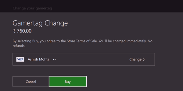 Pay for Gamertag change