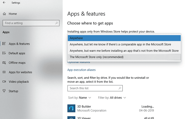 Restrict App installation in Windows 10