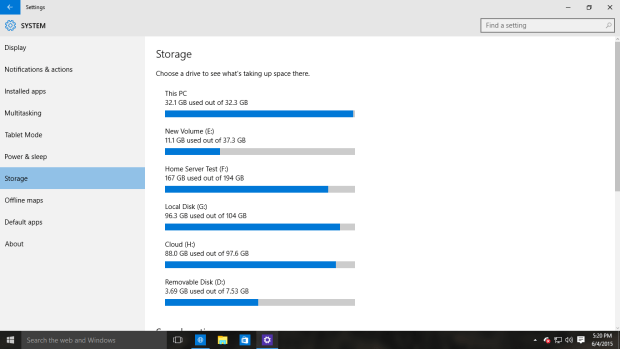 System Settings Storage Windows 10 PC