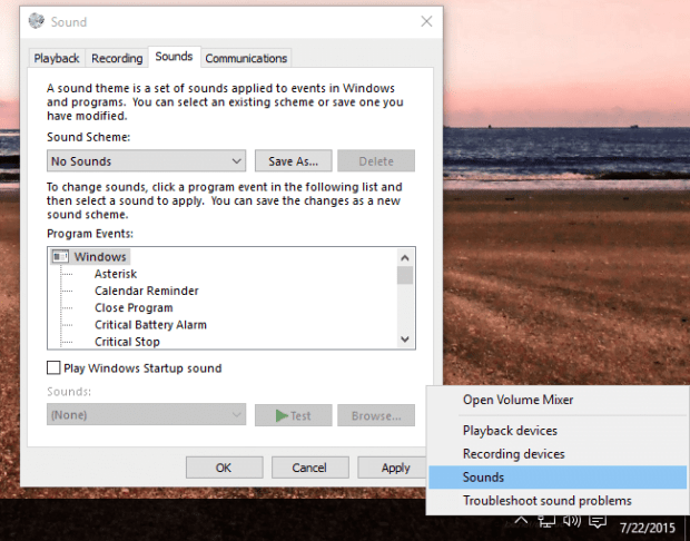 Trun of Notifications for Sounds Global in Windows 10