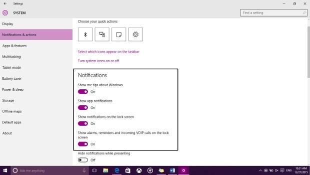 Turn Off Notifications Windows 10