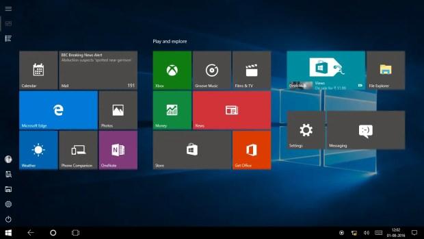 Windows 10 Anniversay Update Tablet Mode