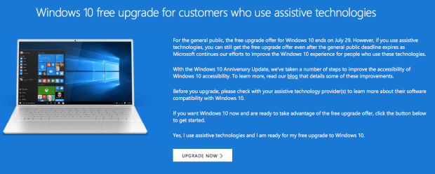 Windows 10 Free Upgrade Assistive Technologies