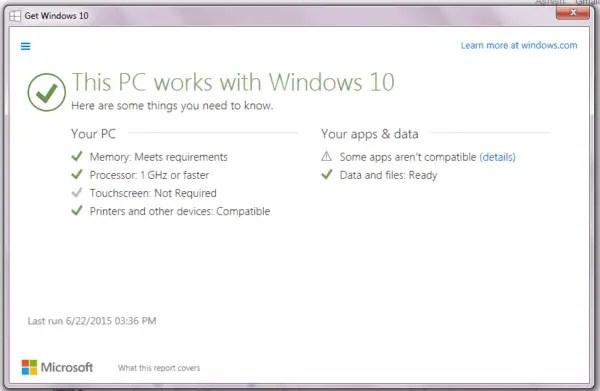 Windows 10 PC Upgrade Compatibility Check