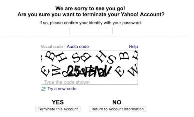 delete or remove Yahoo Account