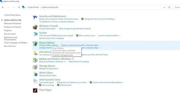 Windows 10 Power Options