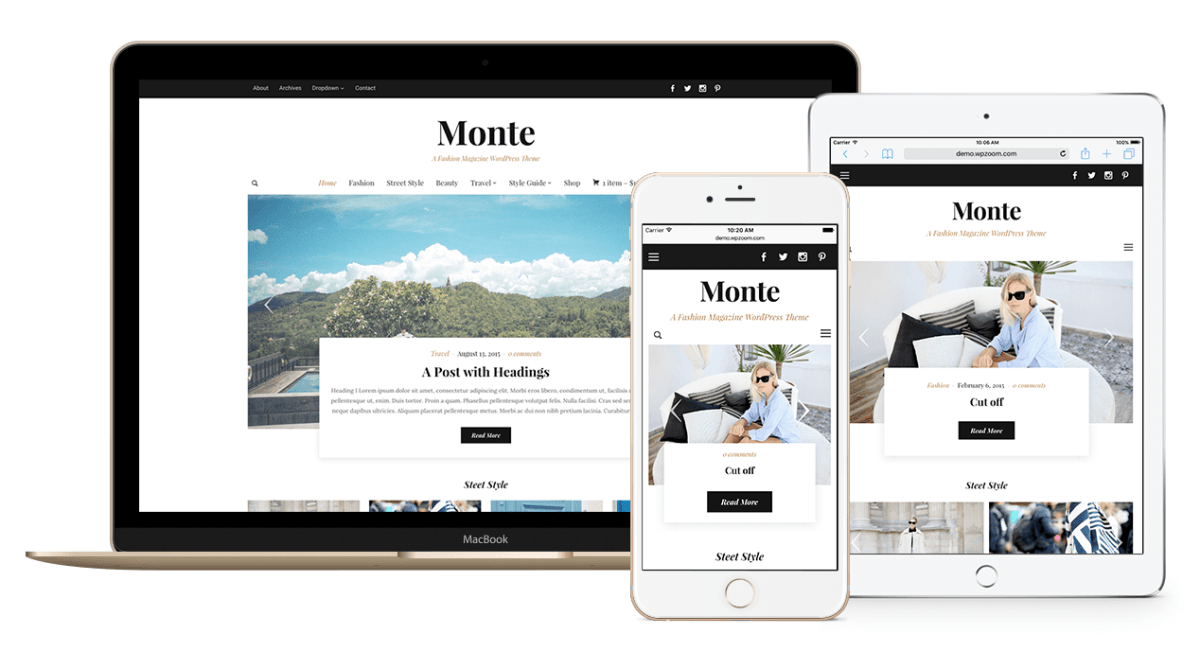 The Monte WordPress fashion themes various device options