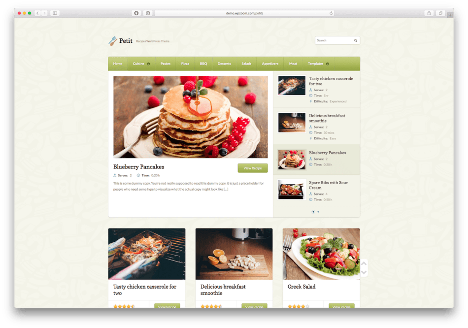 Screenshot of the Petit food blog WordPress theme