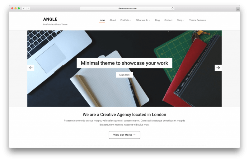 Angle WordPress portfolio theme screenshot