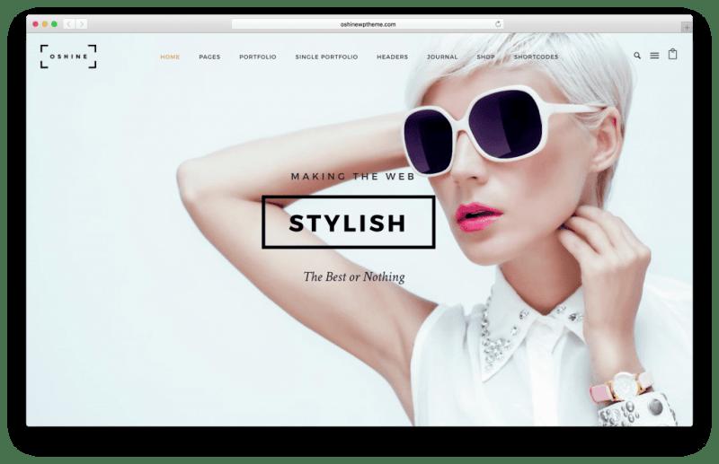 Oshine WordPress portfolio theme screenshot