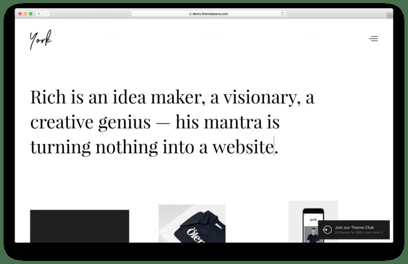 York Pro WordPress portfolio theme screenshot