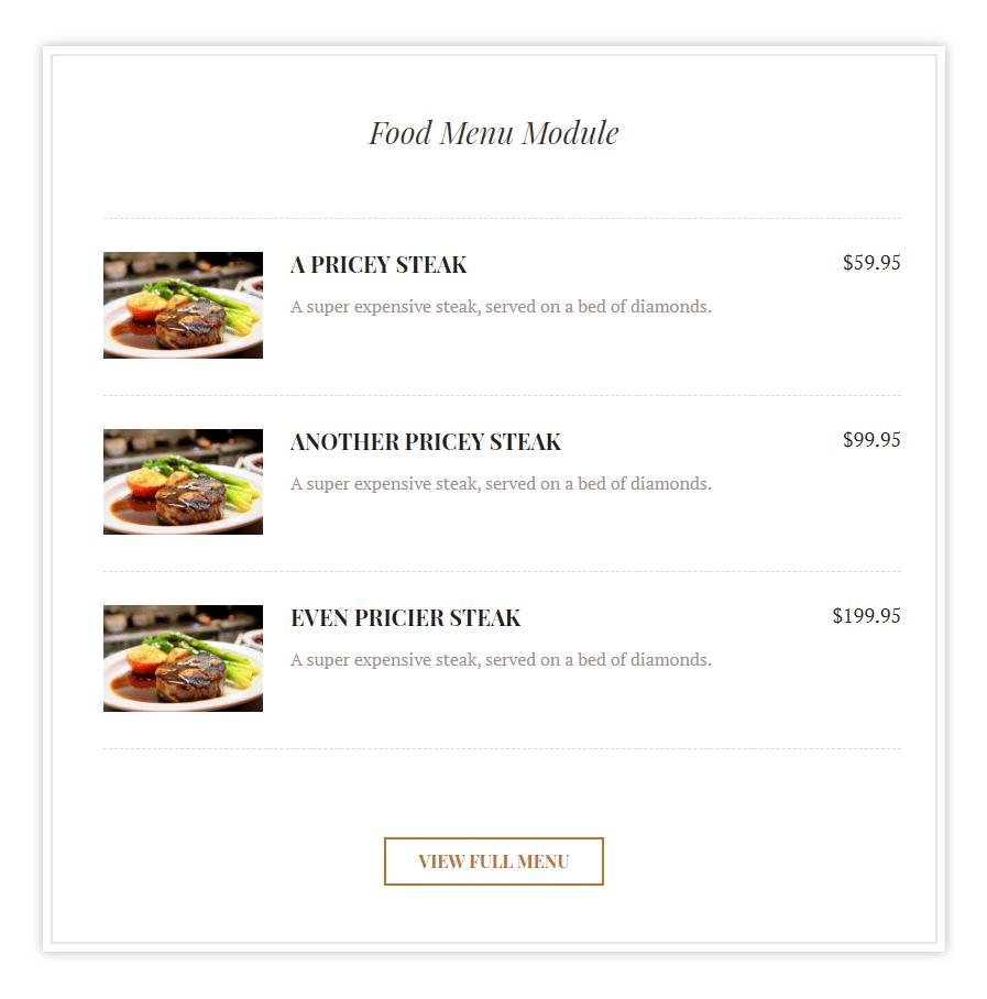 Food menu module