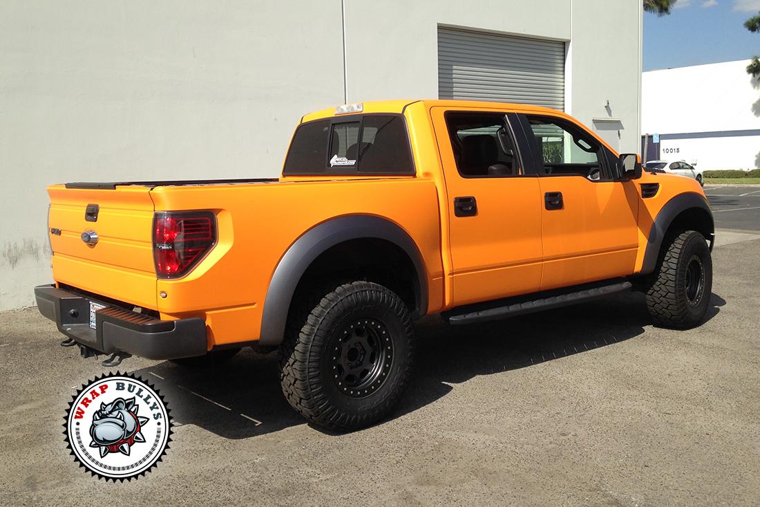 Ford Raptor Wrapped in Matte Orange
