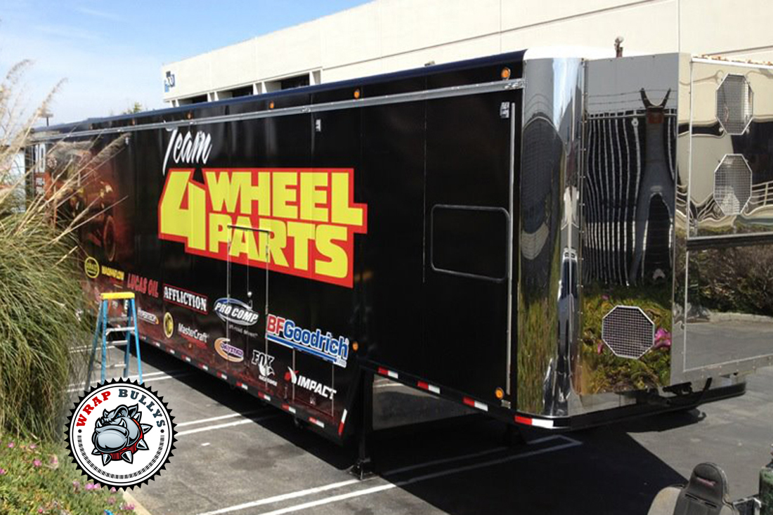 Professional vinyl installation service for trailer wraps, graphic trailer wrap, semi truck wrap. Call us today.