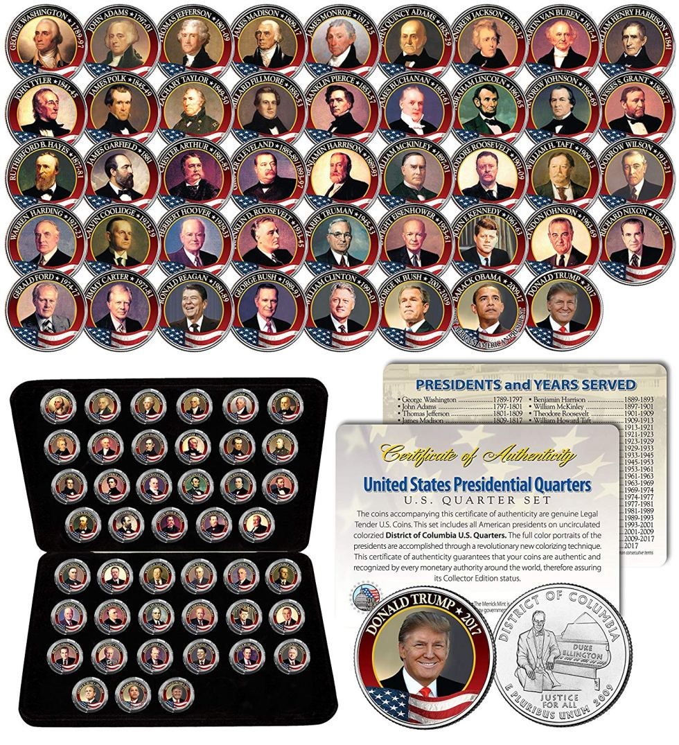 This set of colored President Coins is a collectible presidential gift