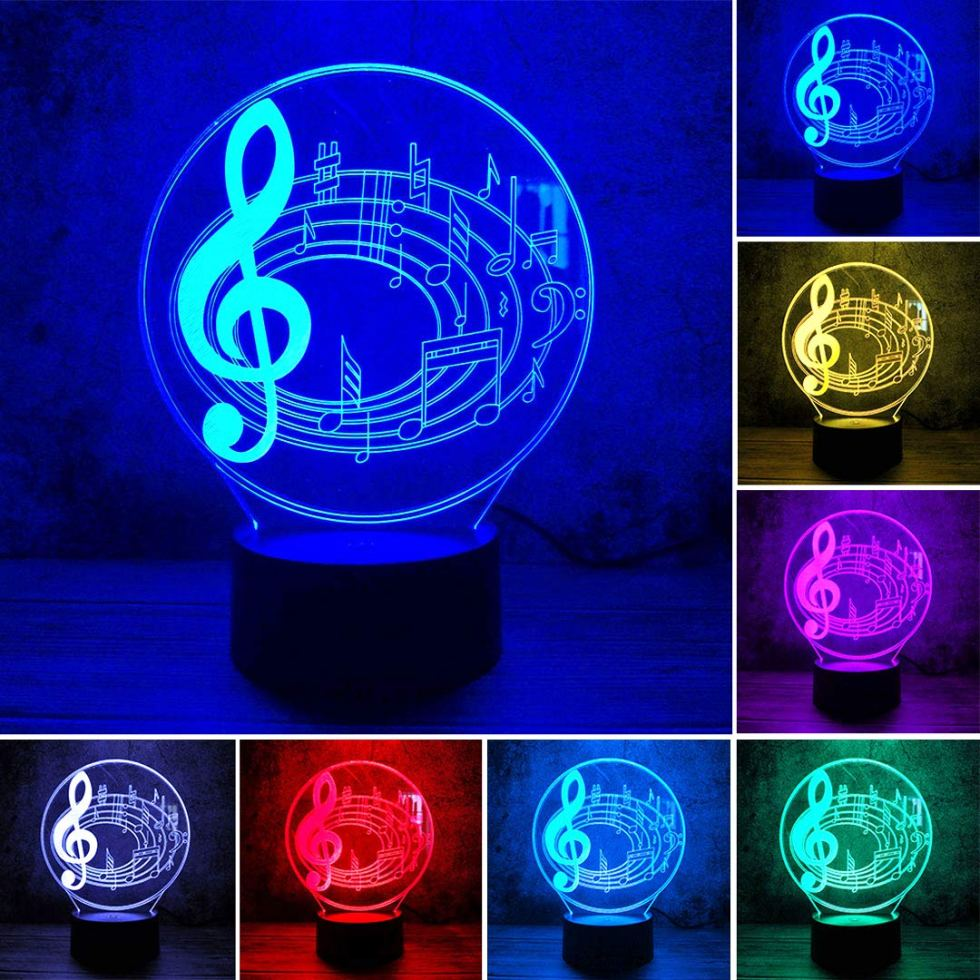 Musical Notes 3D Lamp for music bedroom decor