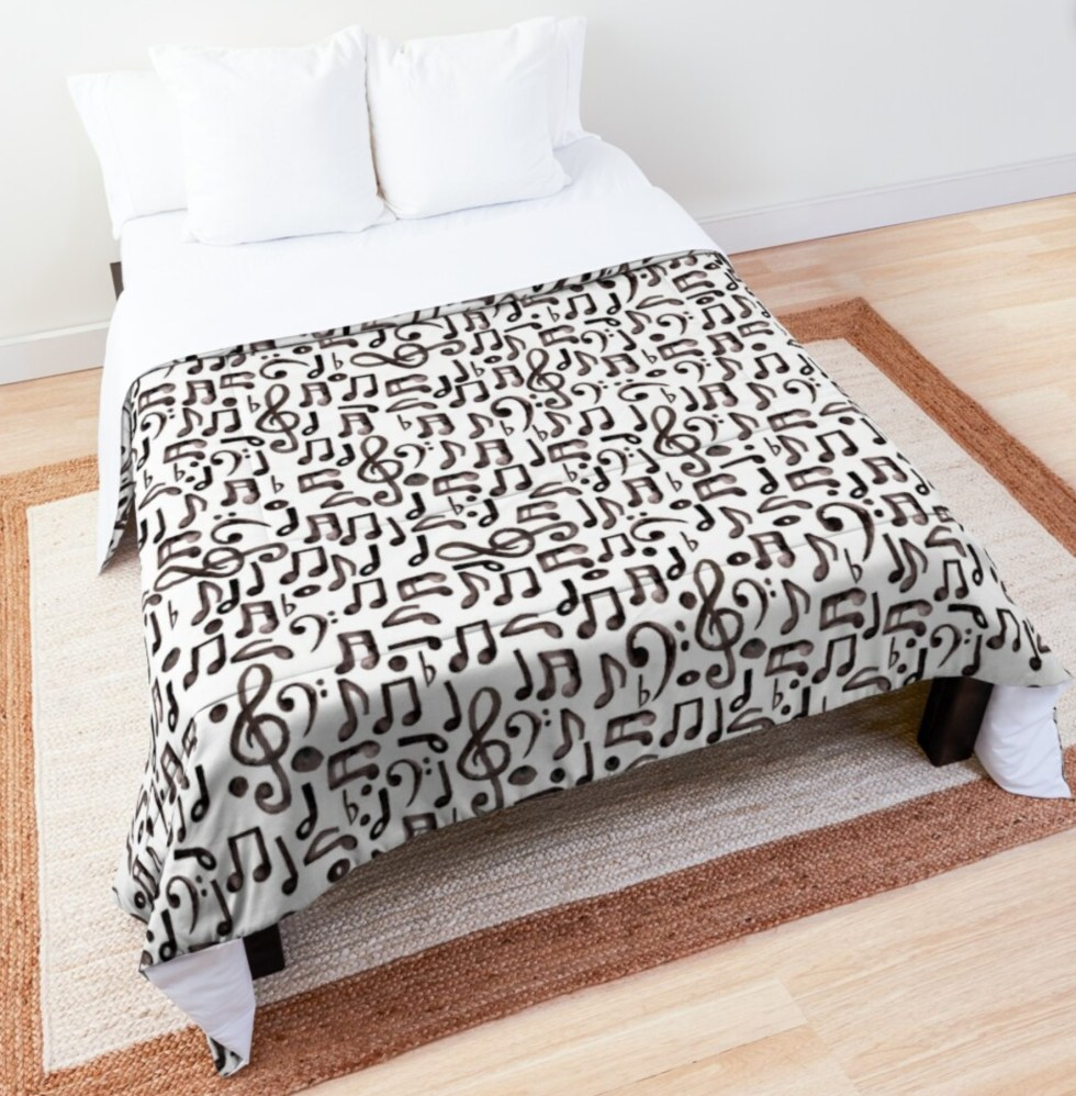 Musical Notes Comforter for music bedroom decor