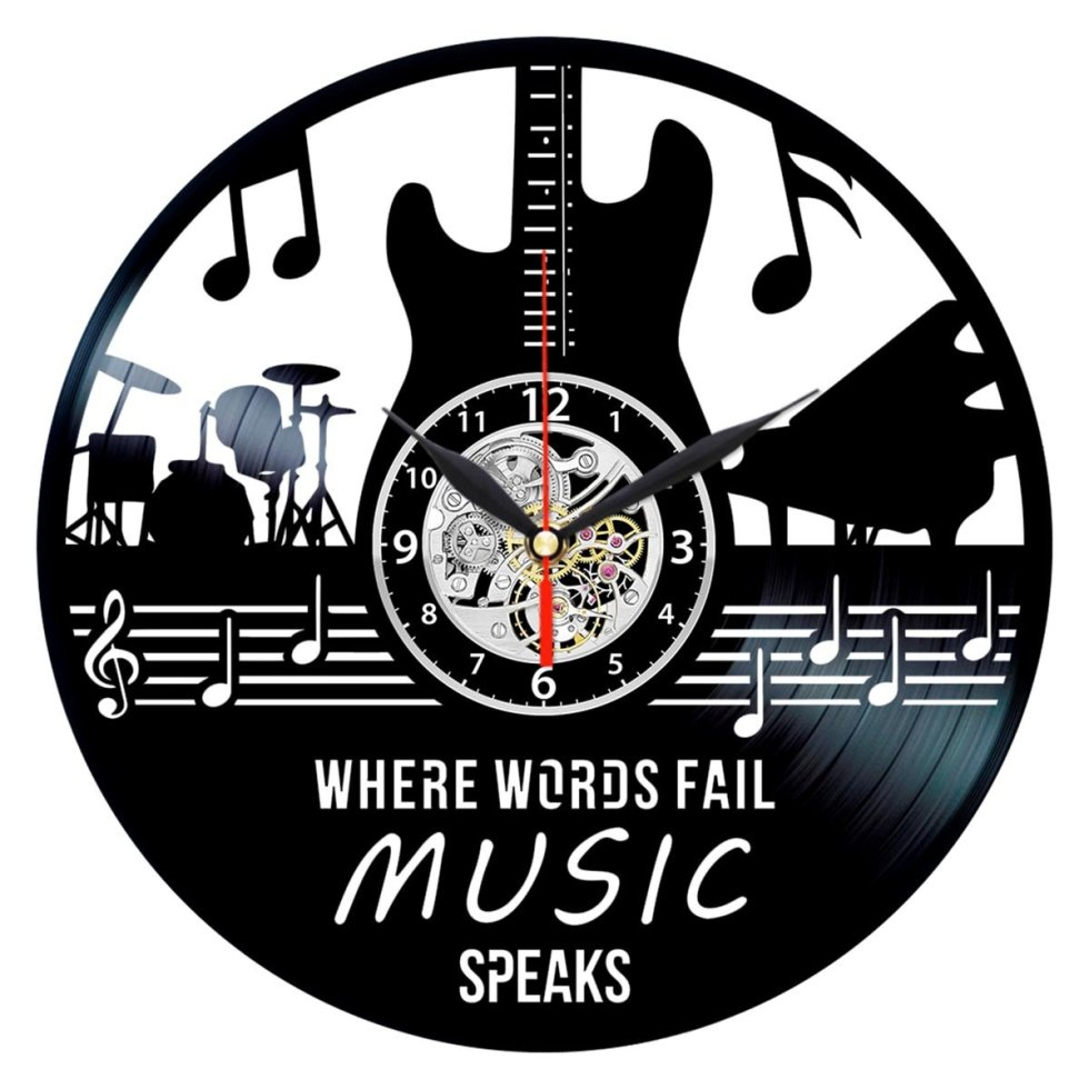 Where Words Fail Music Speaks Clock