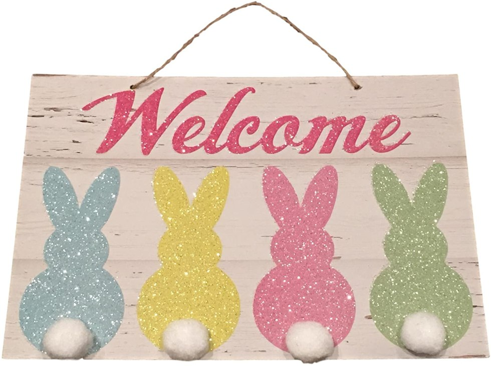 Welcome sign bunny decorations for gifts