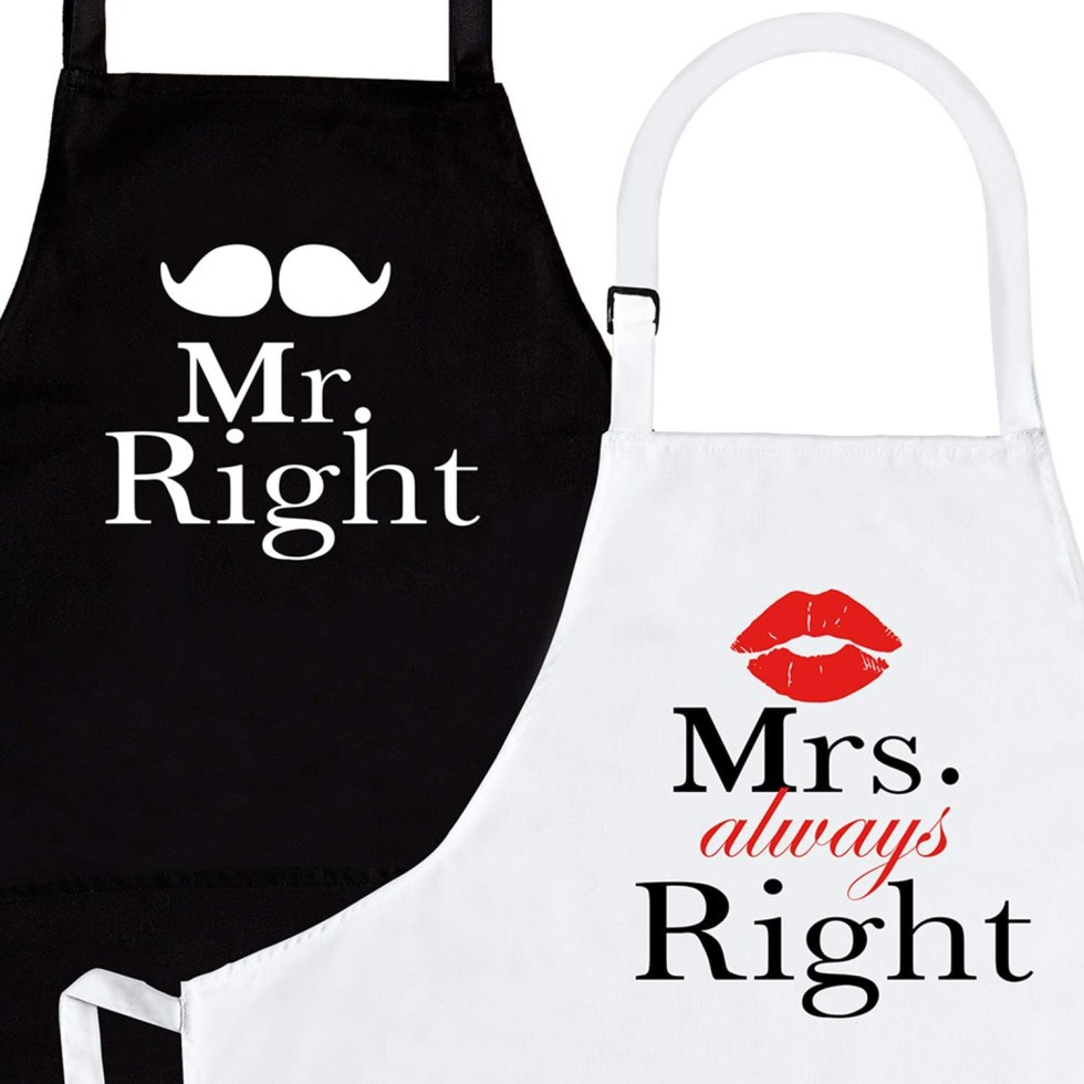 Mr and Mrs Right aprons anniversary gift