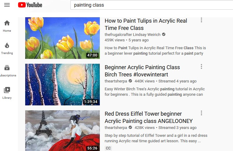 Painting classes on YouTube