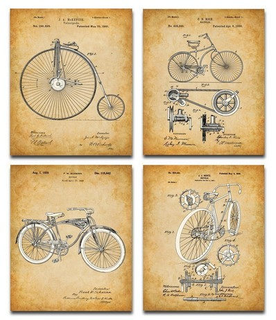 Patent posters gifts for bikers