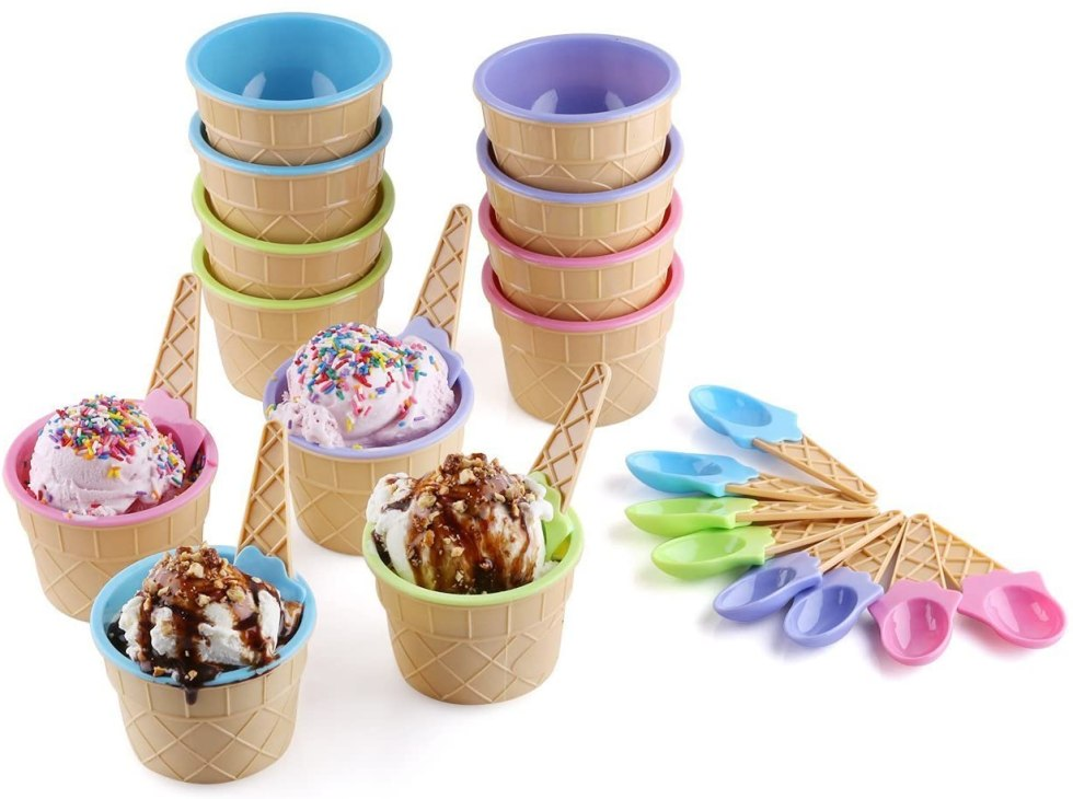 waffle cone bowl set ice cream gifts