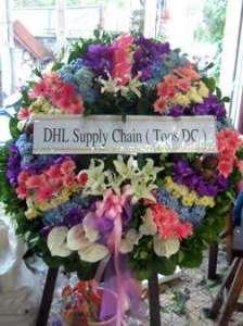 พวงหรีดดอกไม้สด จัดเรียงโทนสดใส ของ DHL Supply Chain (Tops DC) จัดส่งที่วัดธาตุทอง หรีด ณ วัด ขอแสดงความเสียใจแก่ครอบครัวผู้เสียชีวิตมา ณ ที่นี้ด้วยค่ะ