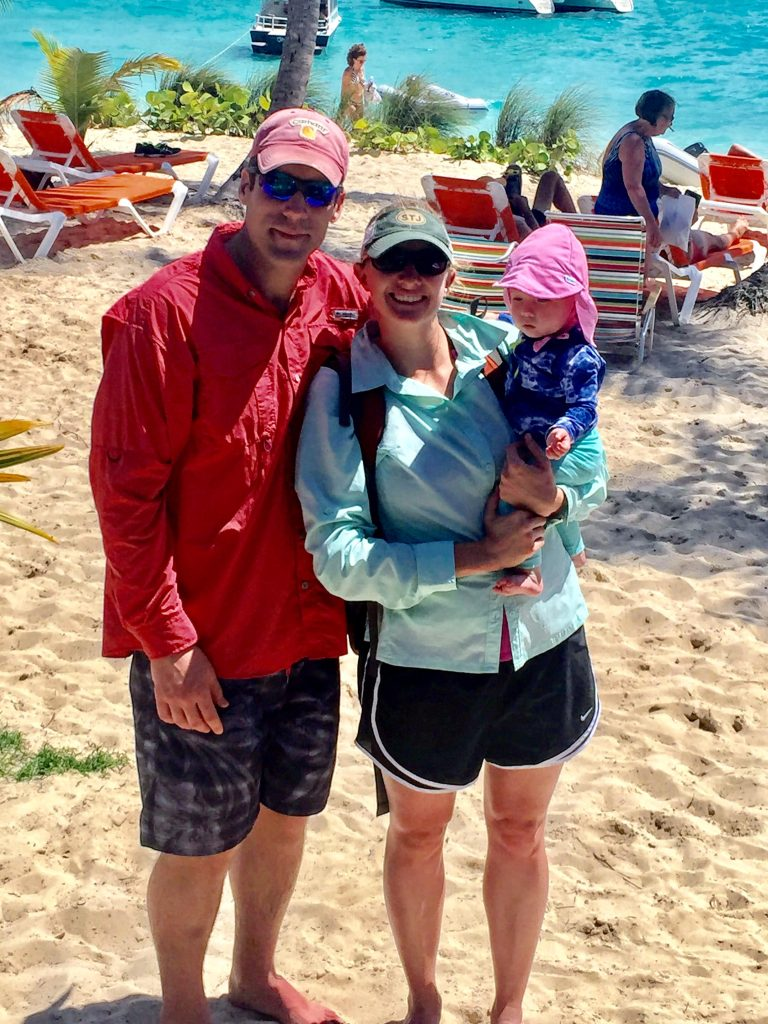 Rob, Brooke, and Zoey at Jost Van Dyke
