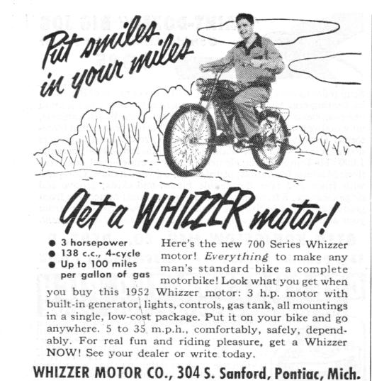 Vintage Ad Whizzer Motor
