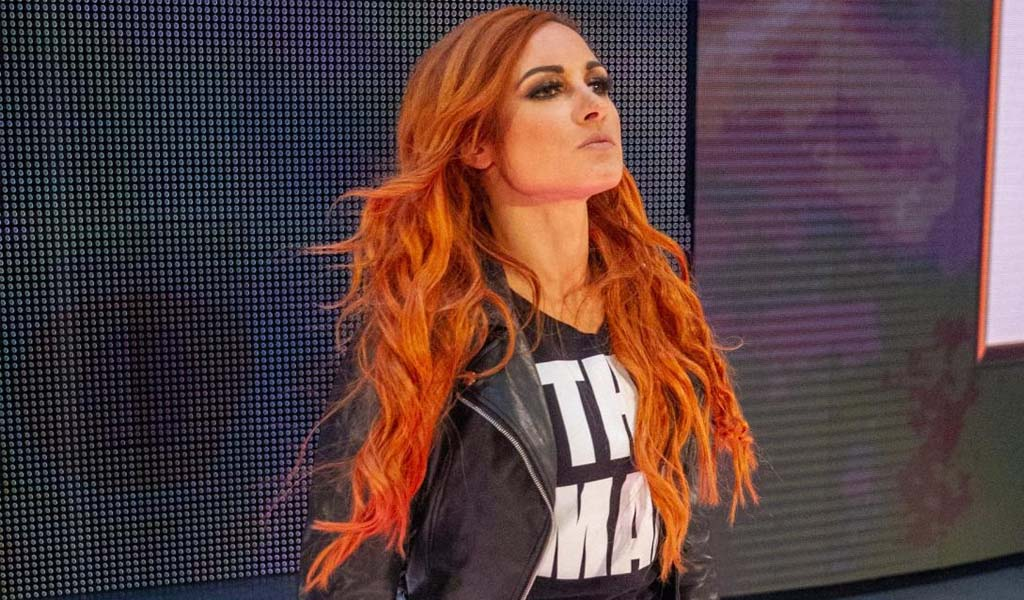 Becky Lynch backstage at season premiere of Smackdown on FOX