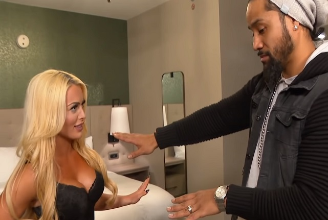 Mandy Rose welcomes Jimmy Uso to her hotel room