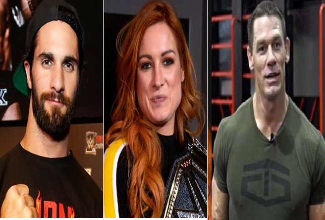 Becky Lynch, Seth Rollins and John Cena